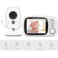"""Baby Monitor Camera, BOIFUN 3.2""""LCD Audio Digitale per Bambini, Trasmettitore Wireless 2,4 GHz fino a 260 m, Audio Bidirezionale, Visione Notturna, Monitoraggio della Temperatura, Cradlesong"""