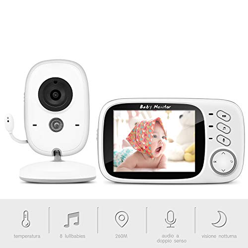 "Baby Monitor Camera, BOIFUN 3.2""LCD Audio Digitale per Bambini, Trasmettitore Wireless 2,4 GHz fino a 260 m, Audio Bidirezionale, Visione Notturna, Monitoraggio della Temperatura, Cradlesong"