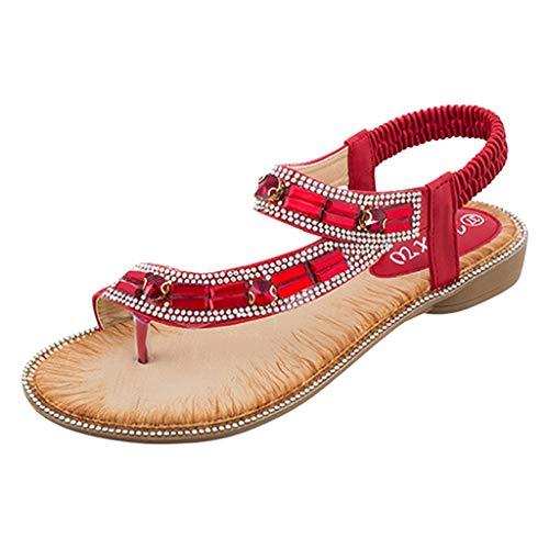 Yuan  Damen Toepost Kristall Gummiband Strand Sandalen Römische Schuhe Sommer Bling Pailletten Tuch runde Kappe Sandalen Freizeitschuhe Damenschuh -