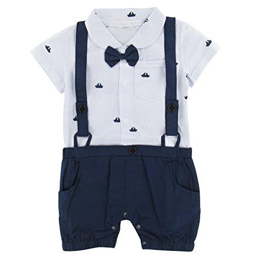 A&J DESIGN Baby Boy Tuxedo Romper Jumpsuit (White, 3-6 Months) Tuxedo-overall