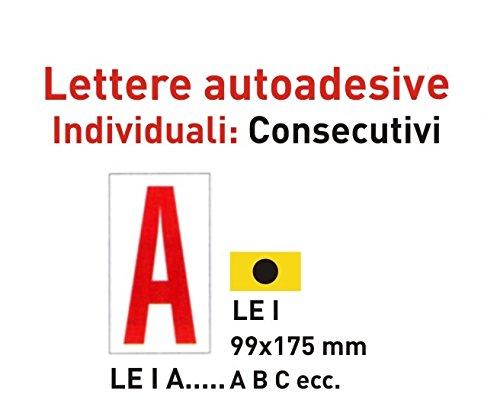 pack 10X Etichette autoadesive numeri individuali 99 x 175 mm 2 colori (E, fondo GIALLO - lettera NERA) - 2 Autoadesivi Lettere