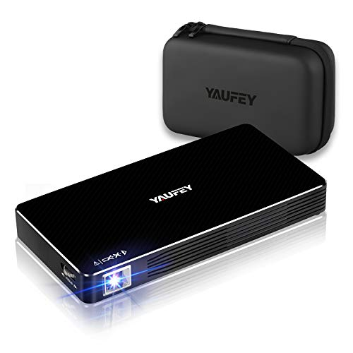 yaufey Mini Beamer, DLP Beamer Full HD WiFi Pocket LED Beamer Projektor unterstützt 1080P Full HD, Akku für 2, Stunden, mit Stativ, 150 ANSI Lumens