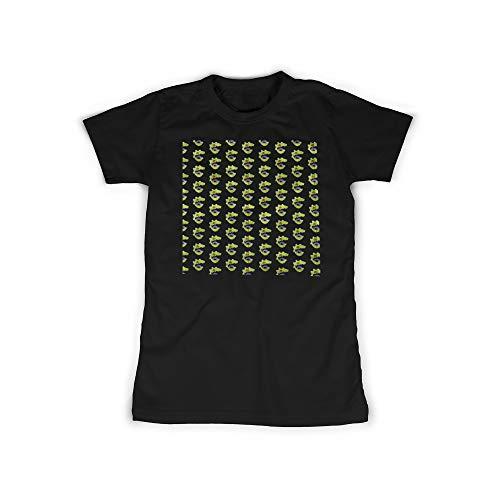 t mit Green Monster Face Aufdruck in Black Gr. XS Dino, Dinosaurier Design Mädchen Top Damen Shirt Frauen Basic 100% Baumwolle Kurzarm ()