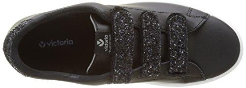Victoria Deportivo Piel Velcros Glitter, Baskets Basses Femme Noir (Negro)