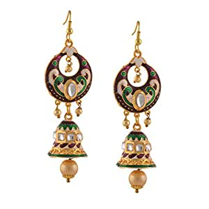 Zephyrr Traditional Chandbali Jhumki Hook with Meenakari Kundan Pearls Earrings for Women
