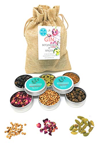 The Gin in a Tin Co. Gin Botanicals Set of 6 Gin Infusion Botanical Set with Rose Petals, Juniper Berries, Allspice - Fantastic Gin Gift Botanical and Spices Set Infuse & Garnish Your Gin and Tonic