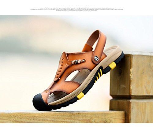 LXXAMens Estate Spiaggia Maschio Slipper Peso Leggero Di Cuoio Reali Sandali Di Sport Due Usi Brown1