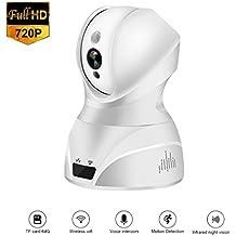 LESHP 826 - Cámara de Vigilancia IP WIFI 2.4G 1080 x 720p Visión Nocturna Soporta Tarjeta Micro SD de Hasta 64 Gb Detección Movimiento Audio Bidireccional - Blanco