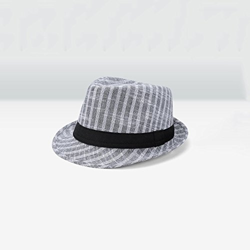 (DNSJB Sonnenhut, Sommer Herren Outdoor Angeln Strohhut Sonnencreme Strand Hut Britischen Jazz Hut,Atmungsaktiv (Farbe : Gray))