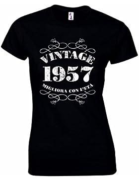 T-shirt da donna da 60esimo compleanno Vintage 1957 – Maglietta idea regalo per i 60 anni