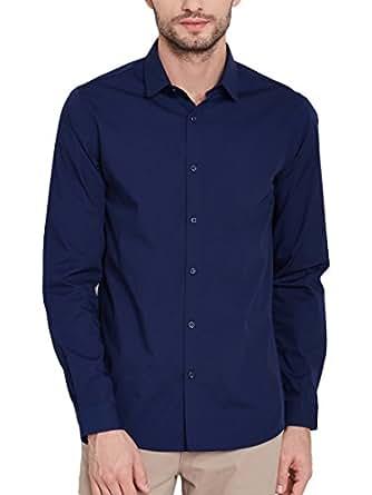 6068b6992fd35 ... Oshano Men s Navy Blue Cotton Casual Formal Plain Solid Full Sleeves  Slim Fit Shirt