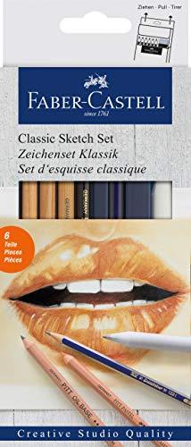 Set para diseño Creative Studio con  1 lápiz Goldfaber (2B), 3 lápices pastel PITT (blanco medio, sanguina, marrón nogal), 1 lápiz graso PITT (negro medio)*, 1 difumino