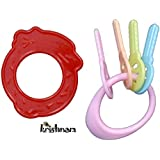 Krishnam Presents BPA-Free Non Toxic Toddler And Infant Baby Silicone Tooth Gel Sooter Teether Keys Ring Teething Toys For Baby Rattle Toy Textured Water Filled Make Relax For Baby (Strawberry Red)