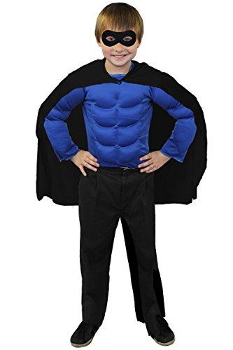 I LOVE FANCY DRESS LTD SUPERHELDEN Hero Kinder Jungen MÄDCHEN KOSTÜM VERKLEIDUNG =SCHWARZER UMHANG+SCHWARZER Maske +MUSKELSHIRT IN 6 Farben+ 2 GRÖSSEN=Fasching Karneval=BLAUES Muskel Shirt-Standard -