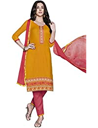 LAVIS Women's Cotton Dress Material (Ranisak116_Free Size_Yellow)