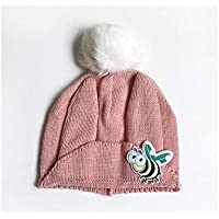 FOUGNOGKISSS Cute Bee and Ears Style Hat Hecho Punto Keep Warm Wind Cap Protect Ear Hat para niños (Color : Pink, tamaño : 40-46cm)