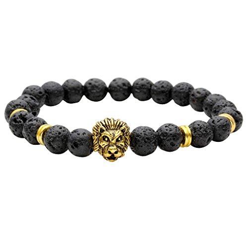 JSDDE Lava Armband,Unisex Zen-Buddhismus Armreif Energietherapie 8mm Lava-Stein Healing Wurzelchakra Yoga Buddha-Armband - #1 Gold Loewe-Kopf
