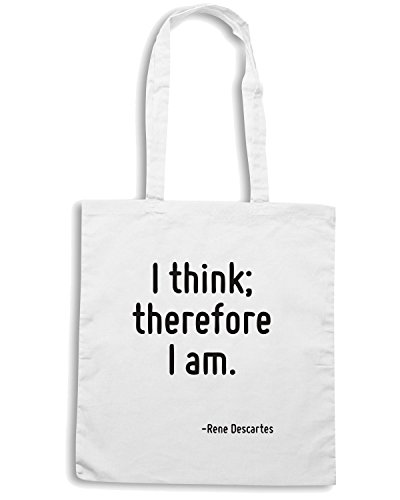 T-Shirtshock - Borsa Shopping CIT0110 I think; therefore I am. Bianco