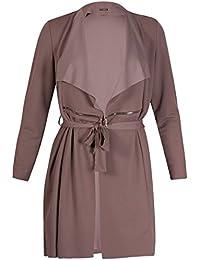 Womens Plus Size Long Sleeve Ladies Collar Belted Zip Plain Jacket Blazer Coat Long Top