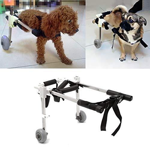 Wuchance 10 Zoll Edelstahl Hundewagen Rollstuhl Rollstuhl für Behinderte Hündchen Klappstuhl