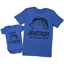 Born To Go Fishing With Daddy - regalo para padres y bebés en un cuerpo para bebés y una camiseta de hombre a juego