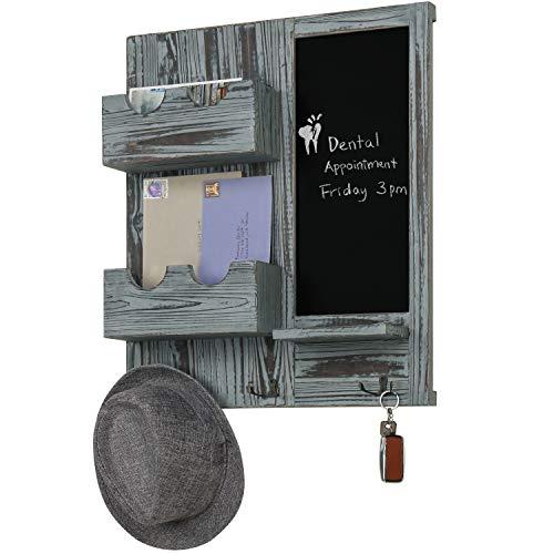 MyGift Wand-Organizer mit Kreidetafel, Briefhalter und Schlüsselhaken, Grau Memo Center