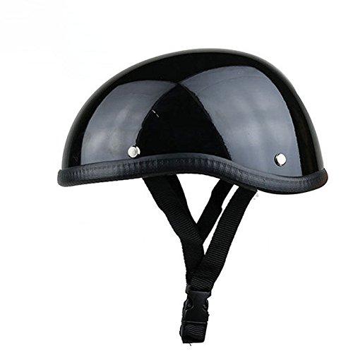 Ocamo Unisex Professional Motorrad Halb Helm Hat Cap für Harley Chopper Bobber Bright Black