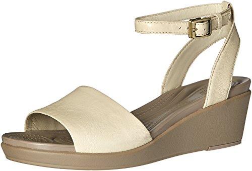 Crocs - Frauen Leigh Ann Ankle Strap Leder Plattformen, EUR: 36.5, Stucco