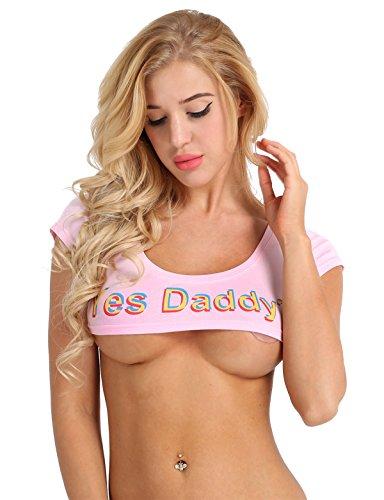 rop Top Kurzarm Sommer T-Shirt bauchfrei Super Kurz Strech Baumwolle Frauen Erotik Dessous Unterwäsche Kostüm Sex Cosplay Kleidung Rosa One Size (Sexy Kostüme Ideen Für Frauen)