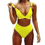 iHENGH Costumi da Bagno Sexy Spiaggia Poliestere per Donna Bikini Solido 2019 Nuovo Casual Fascia San Valentino Costume da Bagno Due Pezzi Brasiliano Bainco Nero(Giallo,Large)