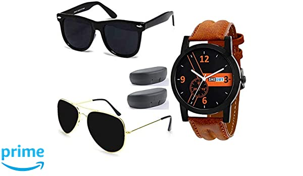 e3e2fcc0f67 SHEOMY COMBO OF STYLISH BLACK AVIATOR AND MATTE BLACK WAYFARER SUNGLASSES  (Violet) WITH 2 BOX Best Online Gifts  Amazon.in  Clothing   Accessories