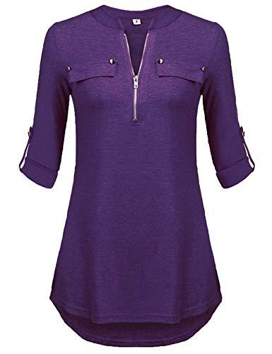 Bluse Einfarbig Damen 3/4 Ärmel Oberteile V-Ausschnitt Hemd Casual Tunika Elegant Lila L