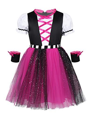 inlzdz Piraten Kostüm für Kinder Mädchen Trachtenkleid Dirndl Bluse Tüllkleid Seeräuber Cosplay Kostüm Halloween Karneval Fasching Verkleidung Schwarz&Rosa Rot 92-98 (Kinder Rosa Piraten Kostüm)