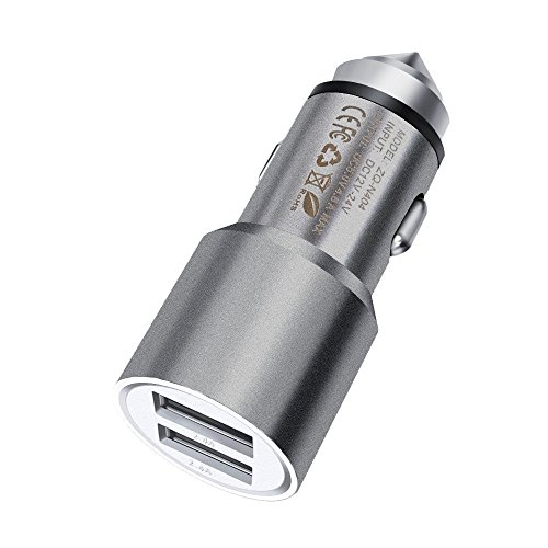 Price comparison product image FONE-CASE (Grey) Mini High Power Metal Dual Port USB Car Charger 5V / 3.1A With Unique Safety Hammer Function and Blue LED Indicator For Apple 128GB iPad 4