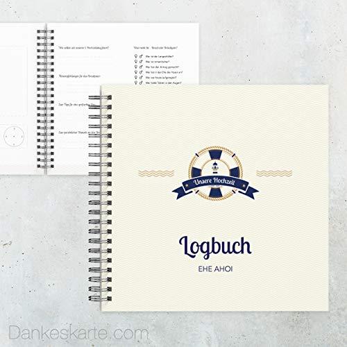 Dankeskarte.com Gästebuch Hochzeit - Hafen der Ehe - 60 Seiten - 30 x 30 cm - mit Fragen/Ankreuzen - alle Seiten farbig Bedruckt - Hochzeitsgeschenk