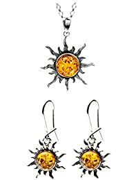 Honey Amber Sterling Silver Sun Set Rolo Chain 46cm