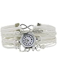 Sanwood Women's Infinity Love Owl Faux Leather Watch (White)