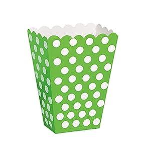 Unique Party- Paquete de 8 cajas para palomitas a lunares, Color verde lima, 59291)