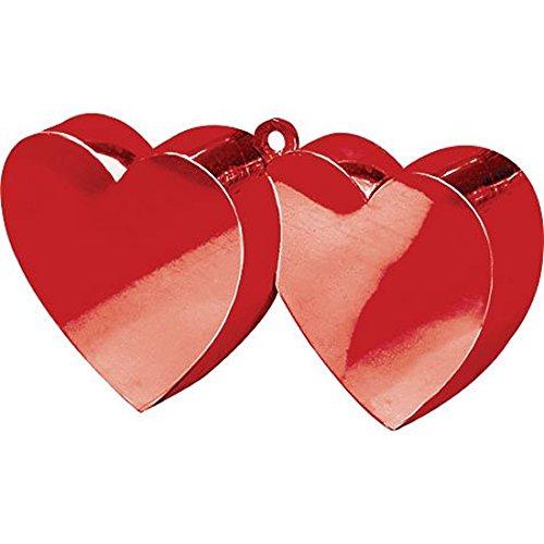 Ballon-Gewicht * ROTES DOPPELHERZ * // Zur Fixierung von mit Helium gefüllten Folienballons // Ich liebe dich I love you Luftballon Hochzeit Trauung Vermählung Standesamt Valentinstag Ballon Heart Herz rot (Dich-ballon Liebe Ich)