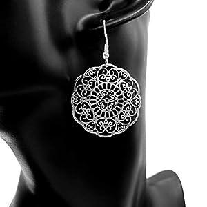 Ohrringe BELIEVE Blume des Lebens versilbert hängend handmade einzigartig groß lang rund Muster Damen Mädchen Schmuck Design modern keltisch Jugendstil