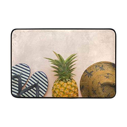 LUPNZ AKANT Summer Beach Pineapple Flippers Straw Hat Doormat Indoor Outdoor Mat Non Slip Polyester for Door Kitchen Bedroom Garden,15.7''x23.6''