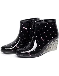 SISHUINIANHUA Botas de Lluvia para Mujer/Pendiente Plana con Botas de Lluvia/Botas Cortas de tacón Alto/Zapatos de Agua para Lluvia, 2, 38
