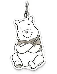 ICE CARATS 14k White Gold Disney Winnie The Pooh Pendant Charm Necklace Licensed Fine Jewelry Gift Valentine Day Set For Women Heart