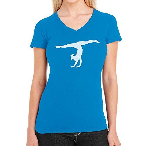 Damen Kunstturnerin Silhuette Fanartikel Geschenk Damen T-Shirt V-Ausschnitt X-Large california blau