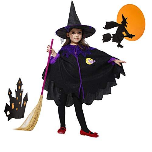 Saihui Halloweenkostüm,Hexe Kostüm für Mädchen Halloween Karneval Party Kleid + Zaubererhut + Zauberbesen/ 2~13 Jahr Alt (Schwarz, 5-6 Jahr Alt)
