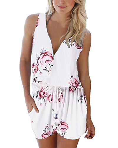 Auxo Damen Ärmellos Kurz Jumpsuit V-Ausschnitt Blumen Playsuit Sommer Strand Overall 05-weiß Medium Jumpsuit Hosen