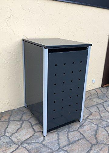 BBT@ | Hochwertige Mülltonnenbox für 3 Tonnen je 240 Liter mit Klappdeckel in Grau / Aus stabilem pulver-beschichtetem Metall / Stanzung 1 / In verschiedenen Farben sowie mit unterschiedlichen Blech-Stanzungen erhältlich / Mülltonnenverkleidung Müllboxen Müllcontainer - 7