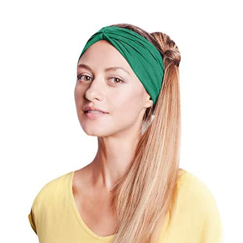 KUDICO Stirnband Damen Mädchen Einfarbig Elastische Kopfband Twist Knoten Turban Haarband für Alltag Yoga Sport Fitness Haar Zubehör(Grün, One size)