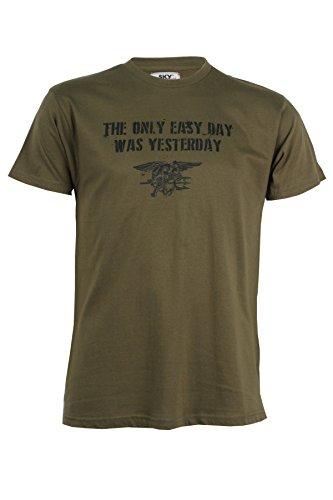 T-Shirt puro cotone stampata verde militare, (Militari T-shirt)