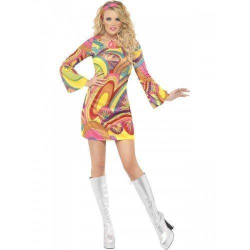 y Hippie 1960s 70s Flower Power Kostüm Mini Kleid Outfit - Gelb, 36-38 (Mini Me Kostüm)